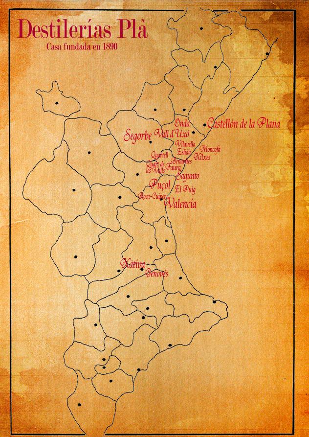 Mapa de municipis que estan dins de la ruta de distribució de Destil·leries Plà