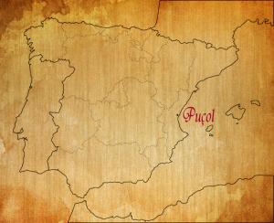 Puçol en el mapa de España.