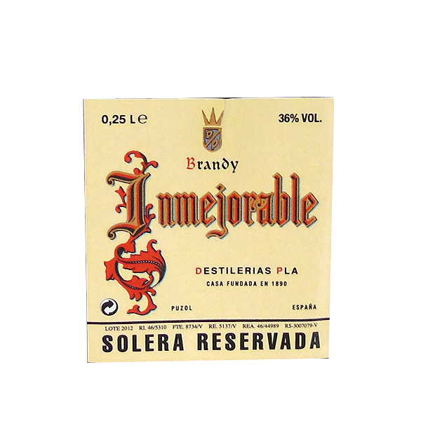 Etiqueta botellita Inmejorable 250 cl 36º