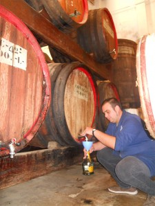Mario bottling Brandy Vell