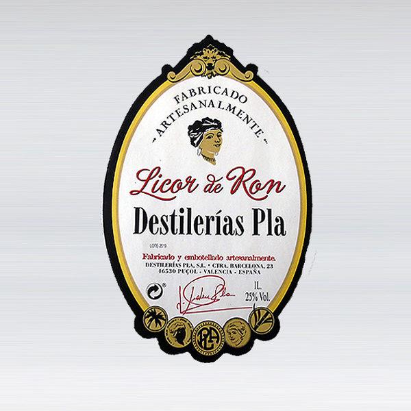 etiqueta licor crema de ron Destilerías Pla Valencia